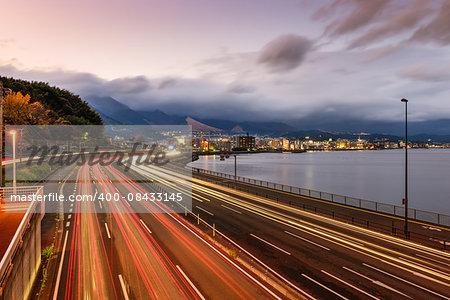 Beppu, Japan overlooking the expressway.