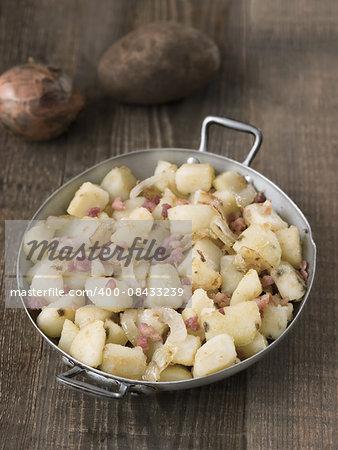 close up of rustic german pan fried potato bratkartoffeln