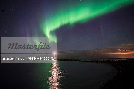 Northern Lights (Aurora Borealis) at Grotta Island Lighthouse, Seltjarnarnes Peninsula, Reykjavik, Iceland, Polar Regions