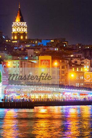Food stalls on the Galata Bridge, Istanbul, Turkey, Europe