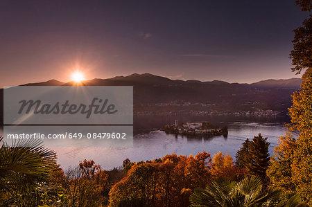 Sunlit view of Lake Orta, Orta San Giulio, Piedmont, Italy