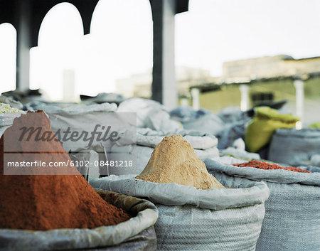 Spices in sacks