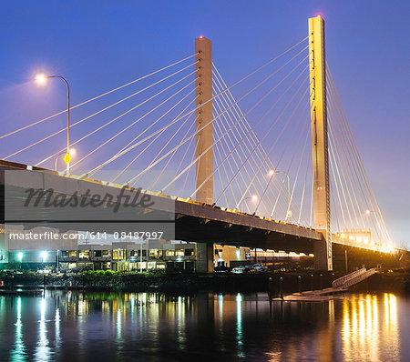 View of Tacoma Narrows bridge and the Narrows at night, Tacoma, Washington, USA