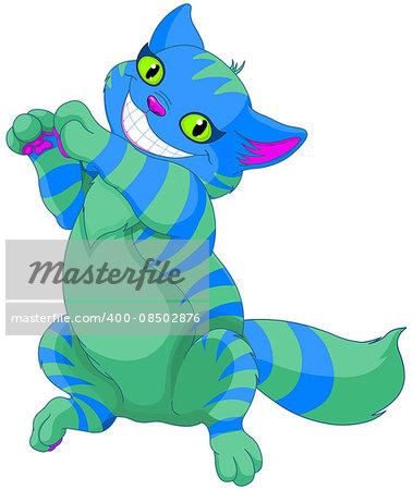 Illustration of smiling Cheshire cat