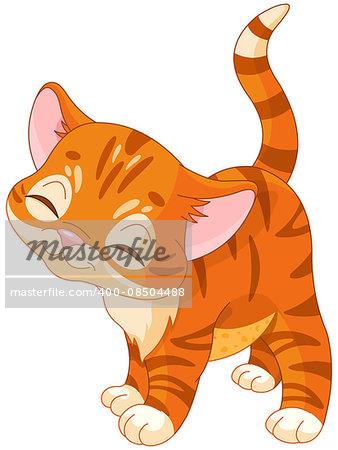 Illustration of cute red kitten