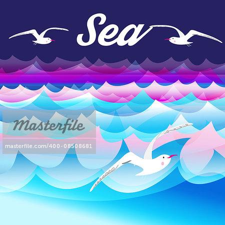 Bright beautiful nature sea  background with sea gulls .