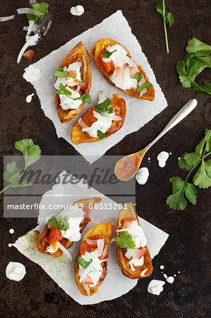 Baked potato skins with raita (India)
