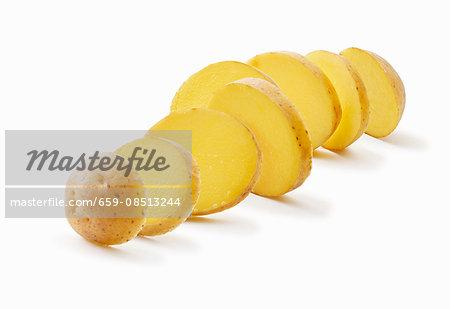 A sliced potato