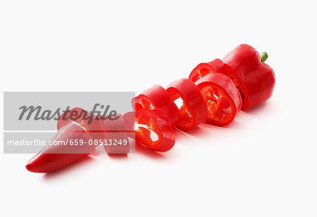 A sliced red pepper
