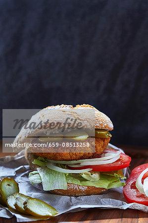 A falafel veggie burger