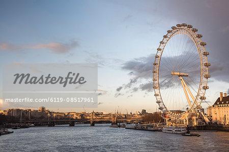 The London Eye at sunset (Millennium Wheel), South Bank, London, England, United Kingdom, Europe