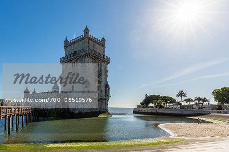 Torre de Belem on the Tejo River, an important example of Manueline architecture, UNESCO World Heritage Site, Belem, Lisbon, Portugal