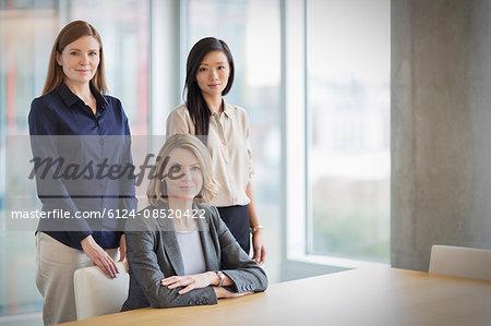 Portrait confident businesswomen in conference room