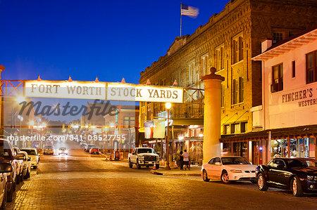 Fort Worth Stockyards at night, Texas, United States of America, North America
