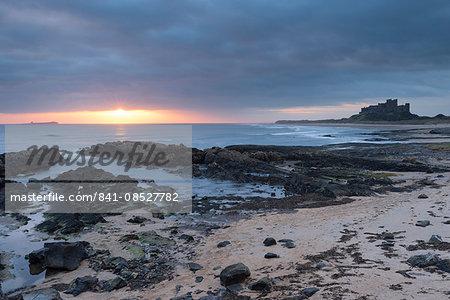 Sunrise at Bamburgh, Northumberland, England, United Kingdom, Europe