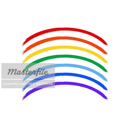 Art painted rainbow color brush strokes vector