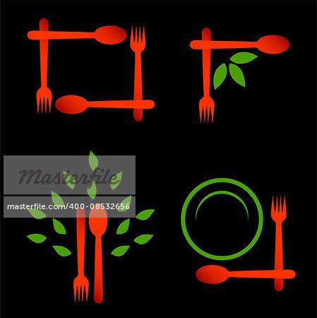 Set of logos for organic cuisine