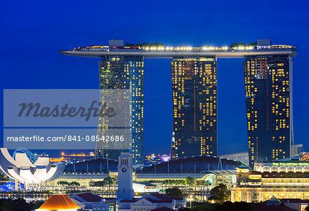Clarke Quay and Marina Bay Sands Hotel and Casino, Singapore, Southeast Asia, Asia