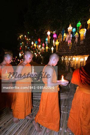 Monks celebrating Loi Kratong festival, Wat Phan Tao Temple, Chiang Mai, Thailand, Southeast Asia, Asia