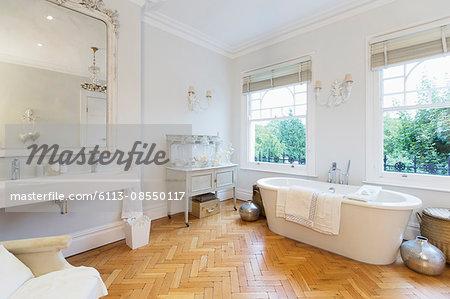 Home showcase interior bathroom with parquet floors