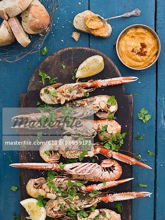 Crayfish on plate