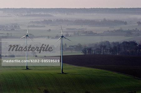 Wind turbines in agricultural district, Skane, Sweden.