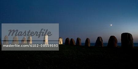 Ale's stones, an ancient monument, Sweden.