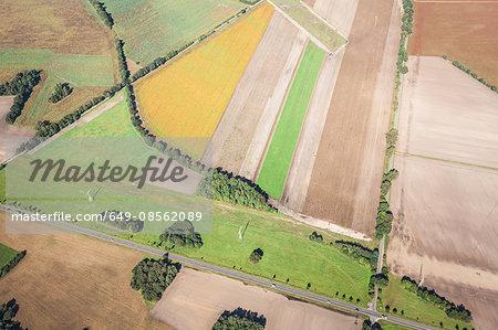Aerial view of fields, Welzow, Brandenburg, Germany