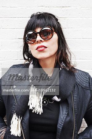 Portrait of a woman wearing sunglasses