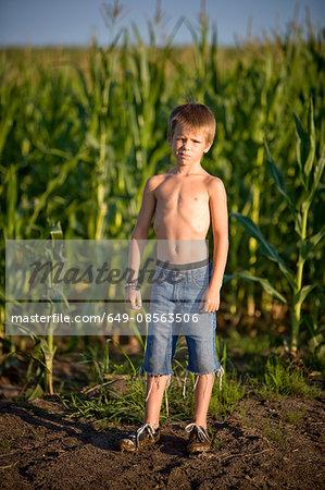 Boy in a corn field
