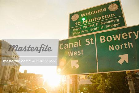 Sunlit road sign, Manhattan, New York, USA