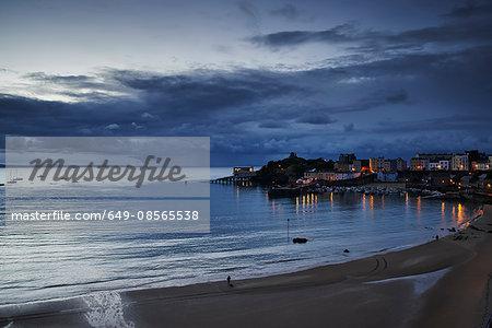 Harbor at dusk, Tenby, Wales, UK