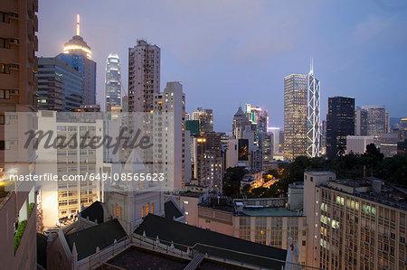 Aerial view of  city architecture at dusk, Hong Kong, China