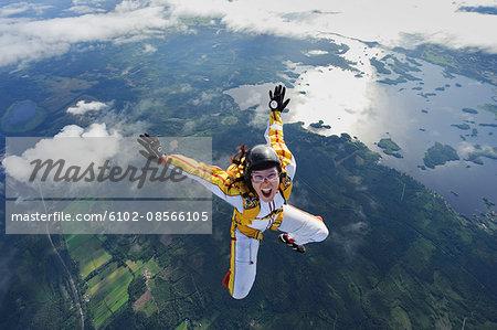 A female parachute jumper, Sweden.