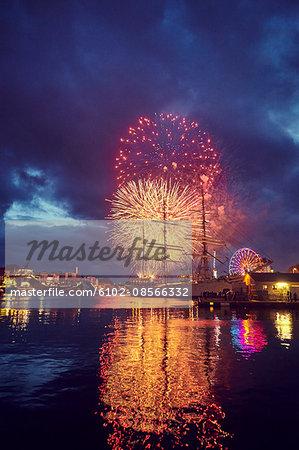 Fireworks over sea
