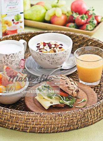 Healthy breakfast on tray