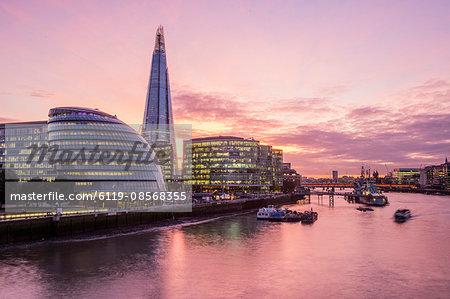 River Thames at City Hall, London, England, United Kingdom, Europe