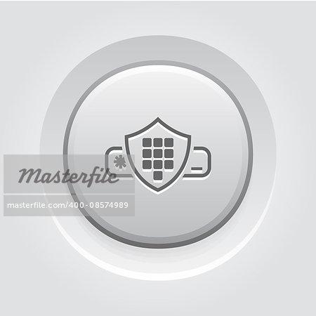 Security Code Icon. Business Concept Grey Button Design