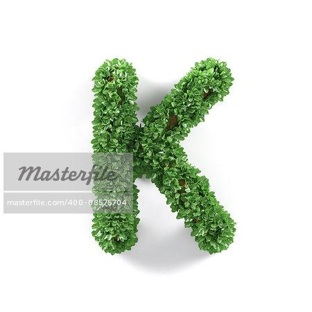 Green leaves K ecology letter alphabet font isolated on white background. 3d rendering