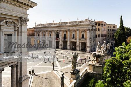 Statues of Castor and Pollux and Palazzo dei Conservatori at Piazza del Campidoglio, Capitolini Museum, Capitoline Hill, Rome, Italy