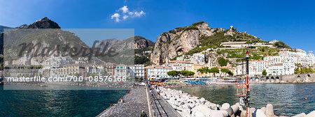 Scenic view of Amalfi and the Lattari Mountains, Province of Salerno, Amalfi Coast, Campania, Italy