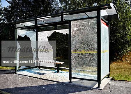 Sweden, Uppland, Lidingo, Broken bus stop