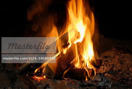 Close up view of bonfire