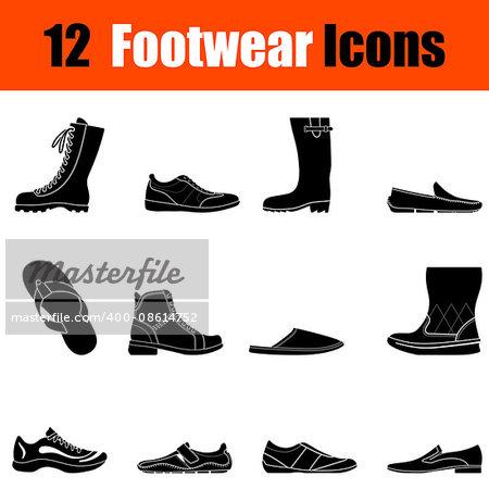 Set of twelve man's footwear black icons. Vector illustration.
