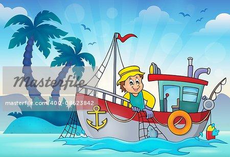 Fishing boat theme image 3 - eps10 vector illustration.