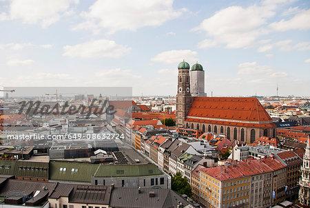 Frauenkirche and cityscape, Munich, Germany