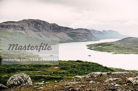 Sweden, Lapland, Saltoluokta, Kungsleden, Landscape with river in mountain valley