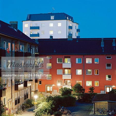 Sweden, Skane, Seved, Malmo at night in summer