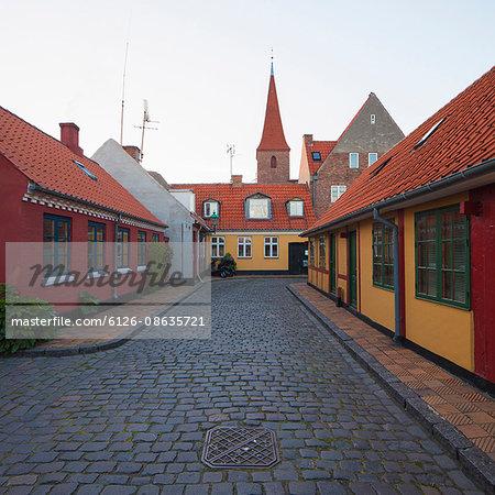 Denmark, Bornholm, Ronne, Houses at dusk