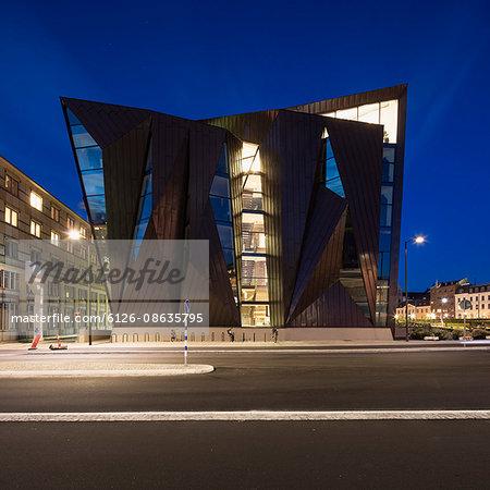 Sweden, Skane, Malmo, World Maritime University at night